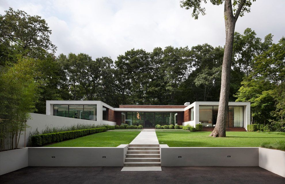 Flat house design exterior modern with new canaan concrete pathway also rh za pinterest