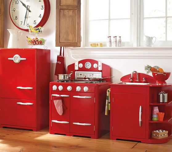 Red Retro Kitchen Collection Kids Play Kitchen Pottery