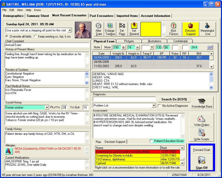 Great example of a well designed Electronic Health Record (EHR - medical charts