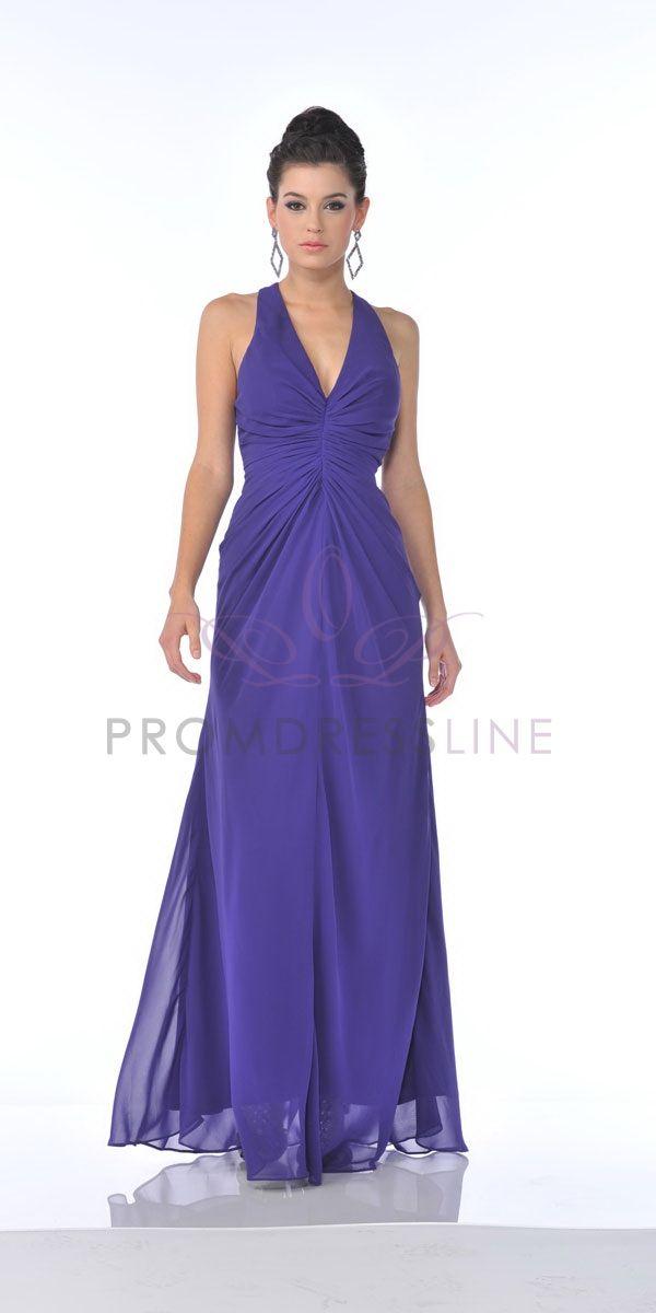 Purple Deep V-neck Chiffon Gathered Bridesmaid & Prom Dress - S7830 ...