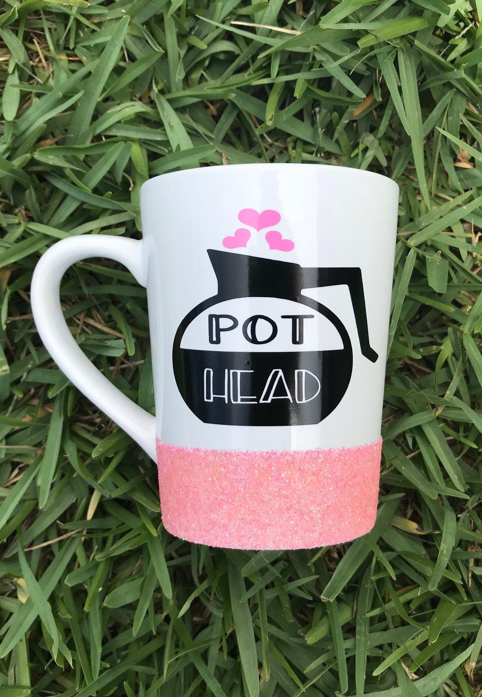 Pot Head Glitter Coffee Cup Coffee cups, Heat transfer