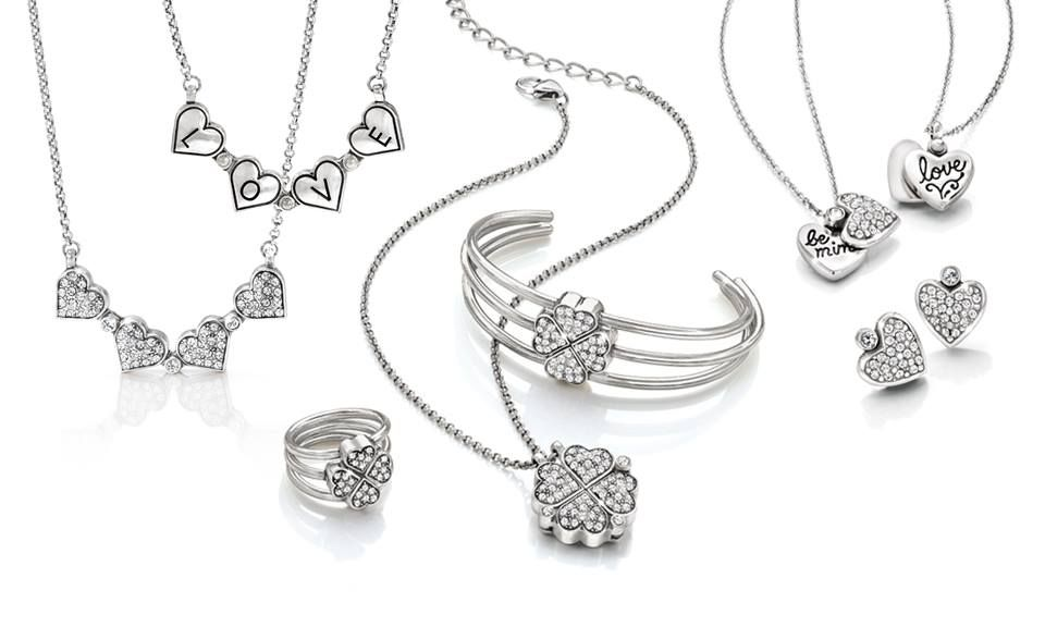 The Mon Amie collection resembles a four-leaf clover or converts into hearts when we unstack the bangles and rings and untwist the necklace. Also our Mia necklace and post earrings (on the right) with it #Brighton #jewelry