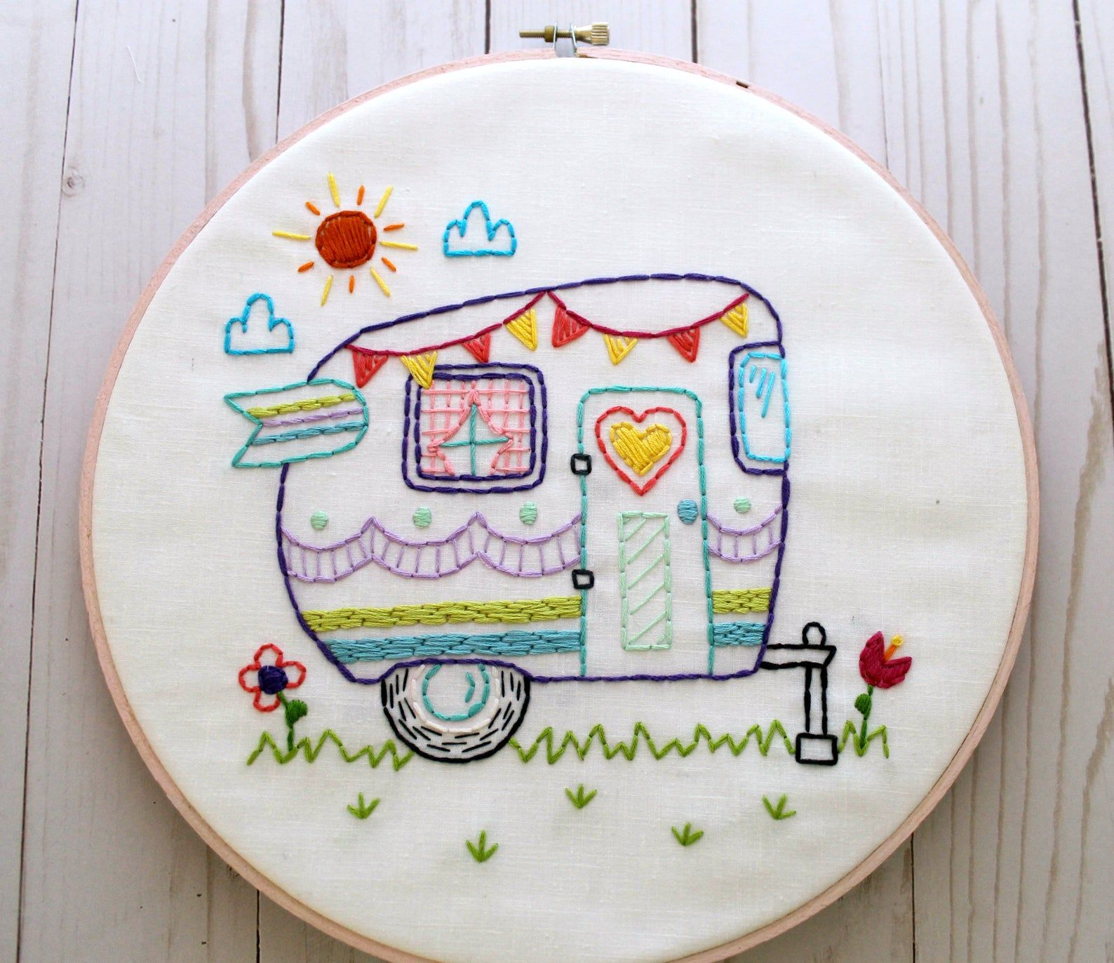 Retro Camper. Hand Embroidery Pattern. PDF Pattern. Summer. Camping. Travel. Road Trip. Embroidery Designs. Vintage Camper. Happy Camper