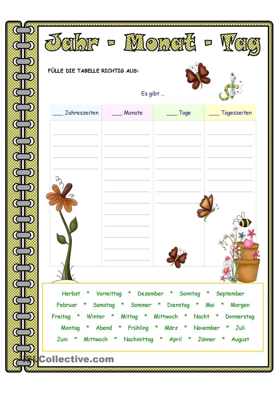 Jahr - Monat - Tag _ Zuordnung | Monat, Schule und Deutsch