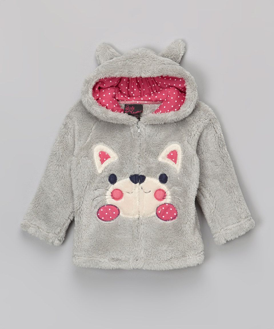 Girls Rule Light Gray Cat Plush Zip-Up Hoodie - Infant & Toddler by Girls Rule #zulily #zulilyfinds