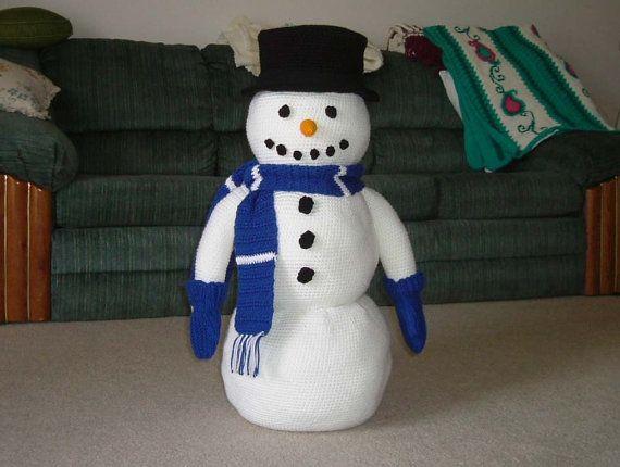 Large Crochet Snowman Pattern For Winter Decor Etsy Snowmen Patterns Crochet Snowman Christmas Crochet