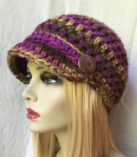 Womens Hat Beanie Flower Multi Purple Brown Yellow | Modelo de ...