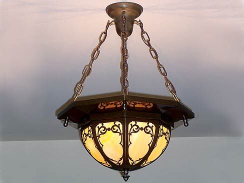 art nouveau antique brass die cut chandelier 1912bungalow com rh pinterest com
