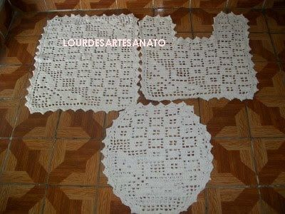 Lourdes Artesanato Jogo De Banheiro Borboleta Em Croche Com