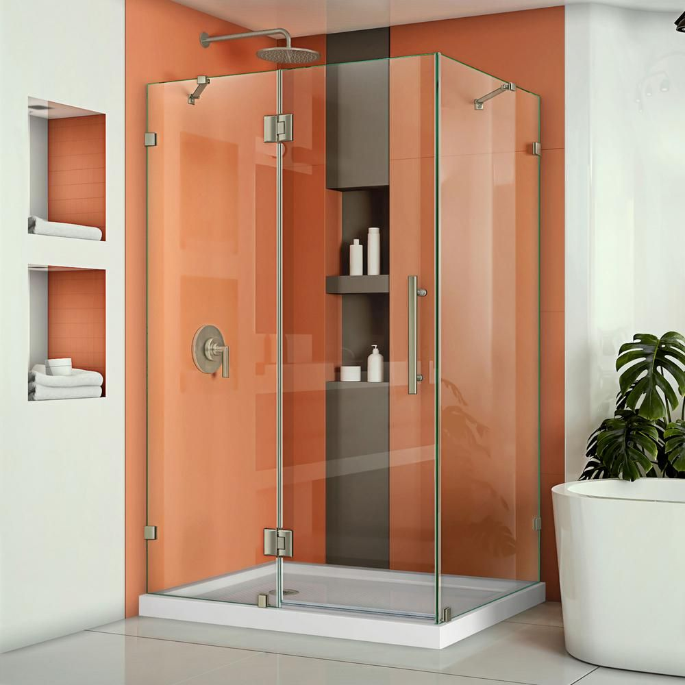 Dreamline Quatra Lux 58 3 8 In W X 34 1 4 In D X 72 In H Frameless Corner Hinged Shower Enclosure In Brushed Nickel Shen 1334580 04 The Home Depot Frameless Shower Enclosures Shower Doors Neo Angle Shower