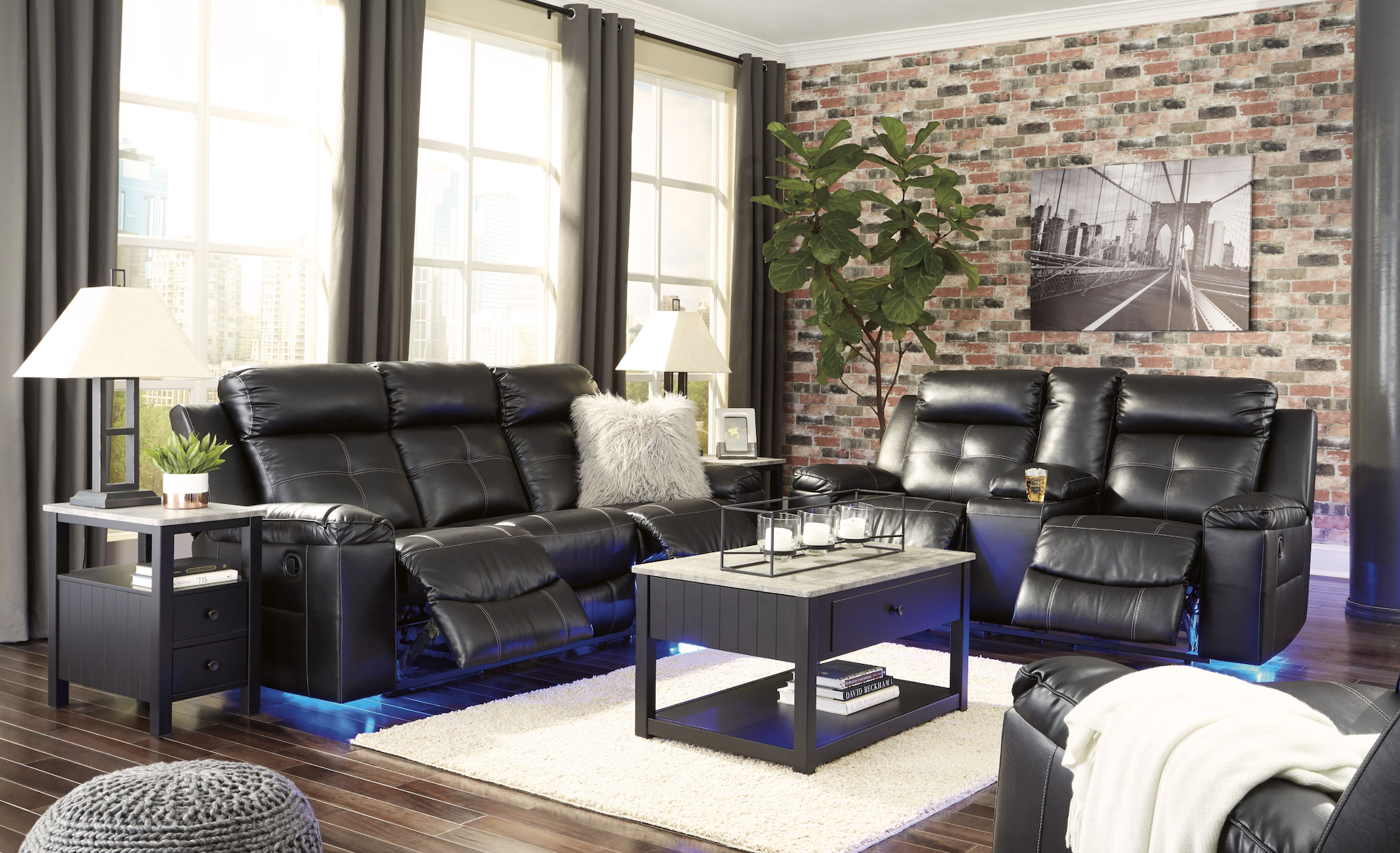 Ashley Kempton Black Reclining Sofa Living Room Sets Modern Living Room Black Furniture