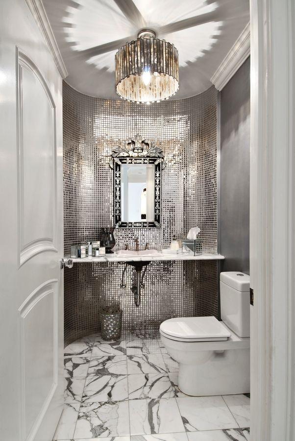 high impact POWDER ROOM Gorgeous luxurious mirror