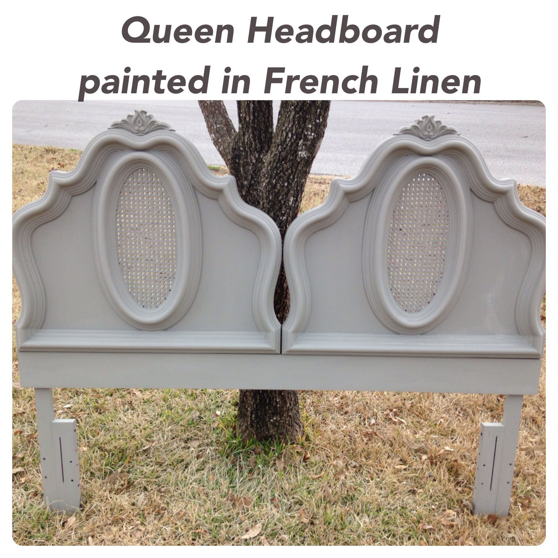 Shabby chic, romantic queen headboard painted in Annie Sloan French Linen by THE BIRCH TREE