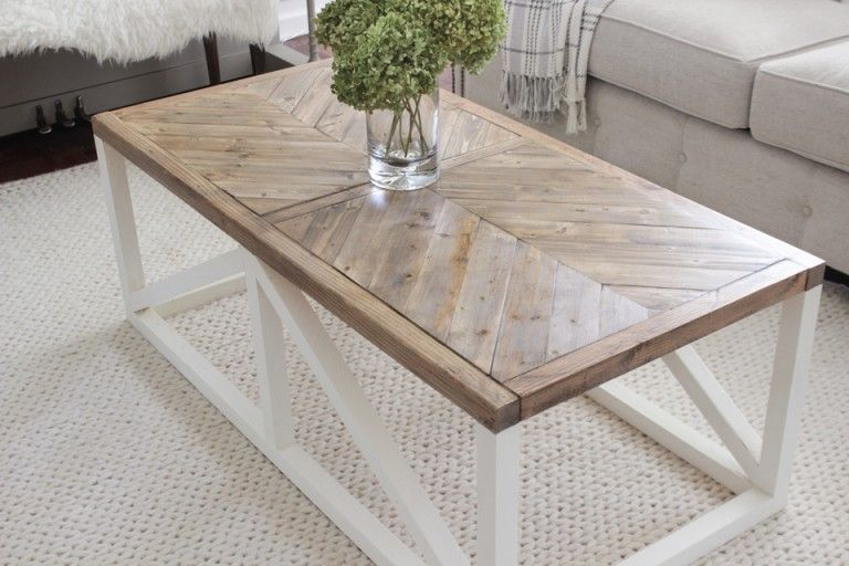 modern farmhouse herringbone coffee table diy diy coffee table rh pinterest com
