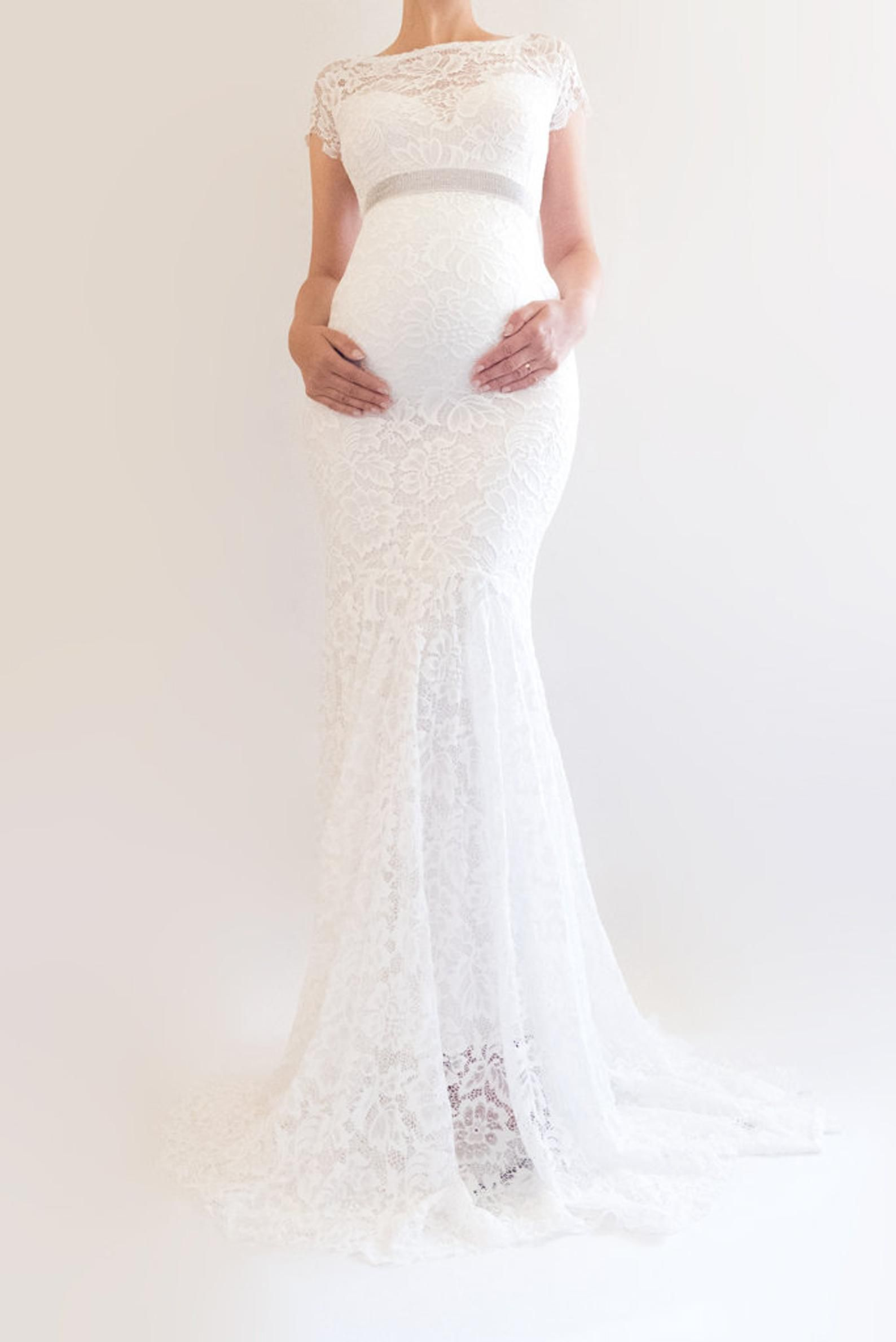 Briar Fitted Maternity Wedding Dress White Wedding Gown Lace This Beautiful White M Lace Maternity Wedding Dresses Modest Bridal Gowns Maternity Bridal Gowns