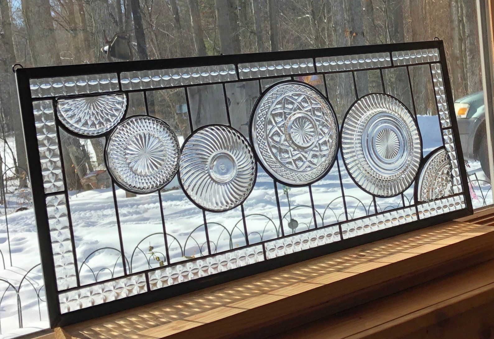 Stain Glass Panel Clear Cascade Transom Window Custom Etsy Stained Glass Panels Stained Glass Glass Panels