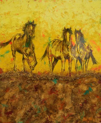 """""""Family"""" -highly textured palette knife and brush painting of three horses with a yellow background. Original Oil & Acrylic on Canvas 60"""" x 48"""". Available for purchase. #horseart"""