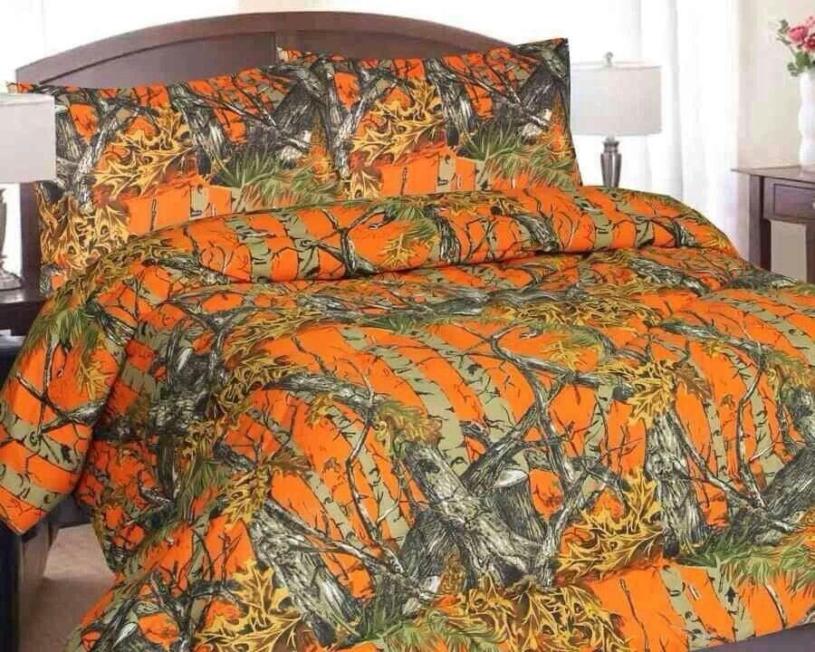 Camo Bedding Comforters Bed, Orange Camo Queen Bedding