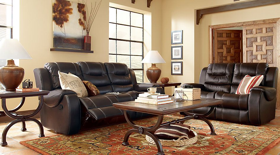 Baycliffe Brown 2 Pc Living Room With Reclining Sofa Sectional Living Living Room Leather