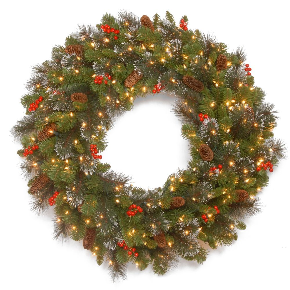 large lighted christmas wreath pre lit 200 clear lights plug in silver bristles