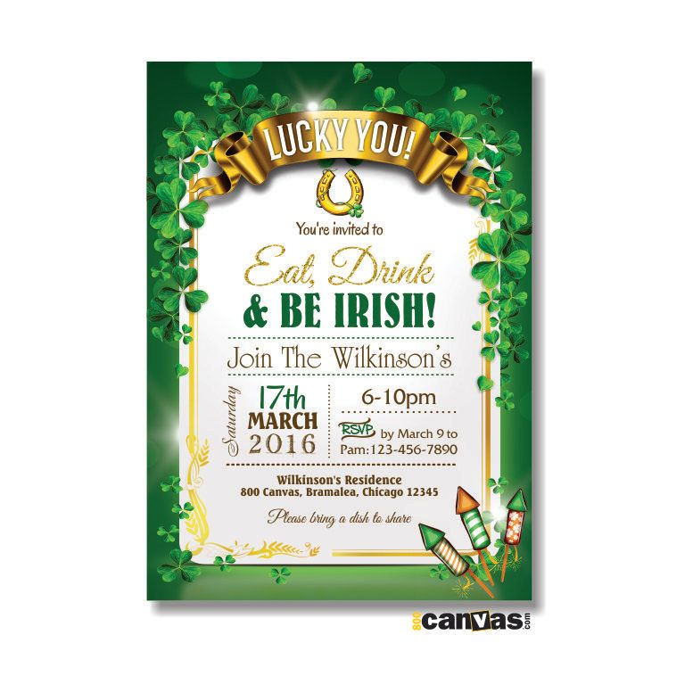 st patrick s day invitation eat drink and be irish party luck