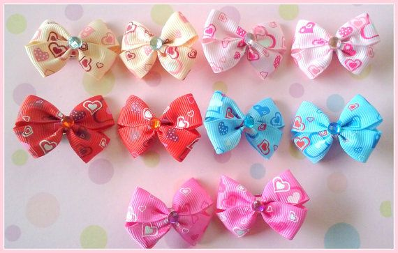 Hearts Bitsy Bows 5 pairs by Flowers4Emily on Etsy
