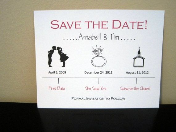 Timeline Save The Date Wedding Card By Onetenstationery