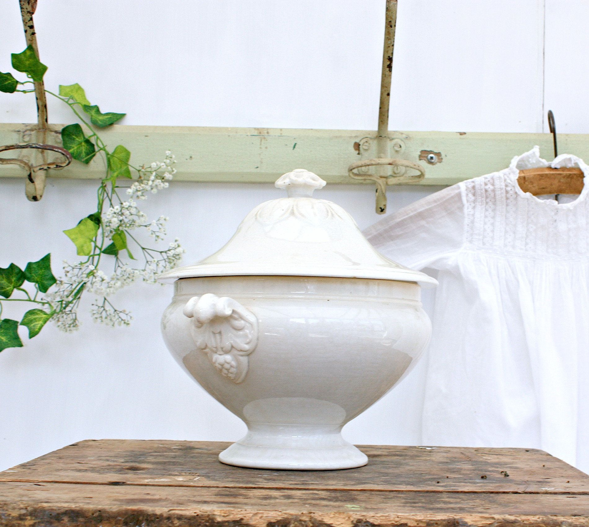 French Country Home Joan D/'Arc Decor French Farmhouse Scandinavian Decor Nordic Decor Ornate Handles French White Ironstone Tureen