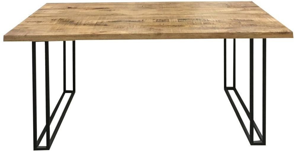 Jaipur Industrial Mango Wood And Iron Large Dining Table Dining