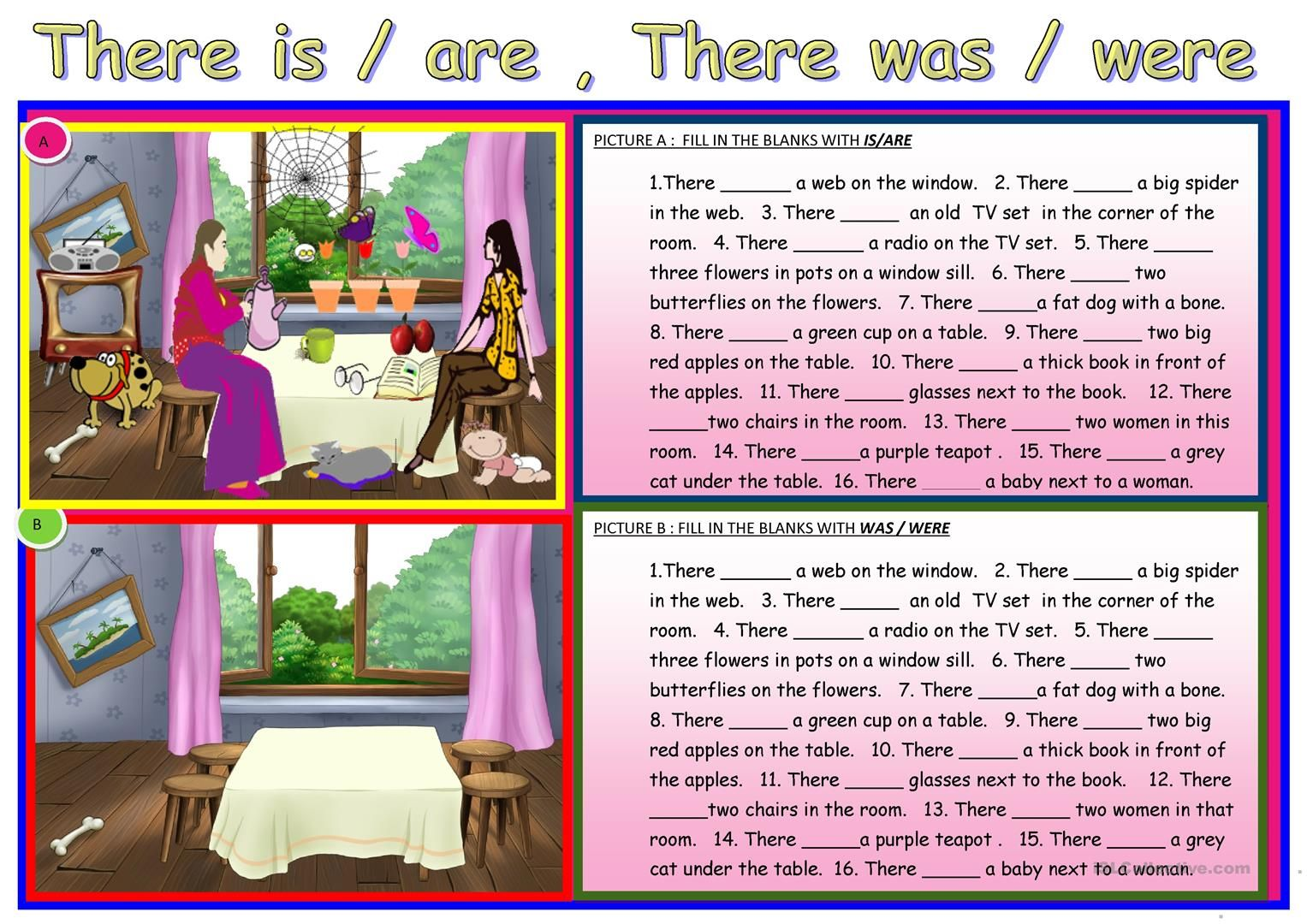 There Is Are There Was Were Worksheet
