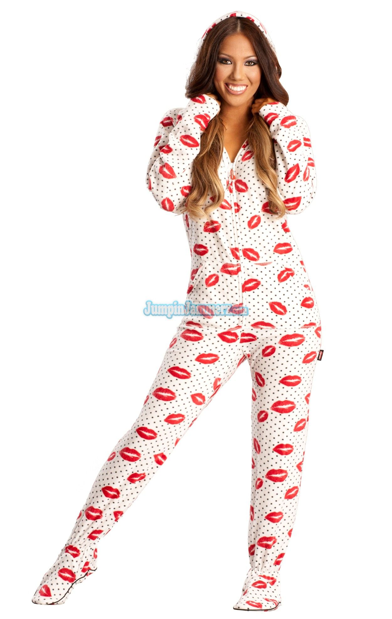 fd20cbfb8ad0 White Sexy Lips Hooded Adult Pajamas. These sexy one piece pajamas feature a  hoody