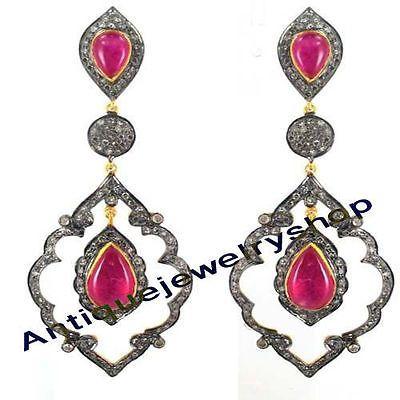 3.14ct Antique Rose Cut Diamond 92.5 Silver Ruby Victorian Look Dangle Earrings