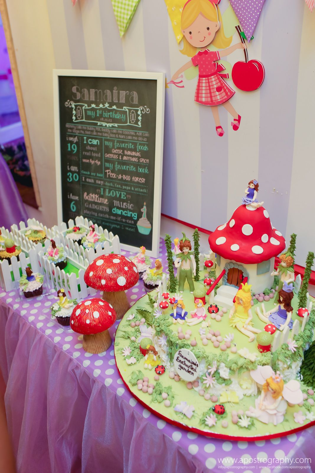 Enchanted Garden Cake Table w 1st Birthday Milestones ...