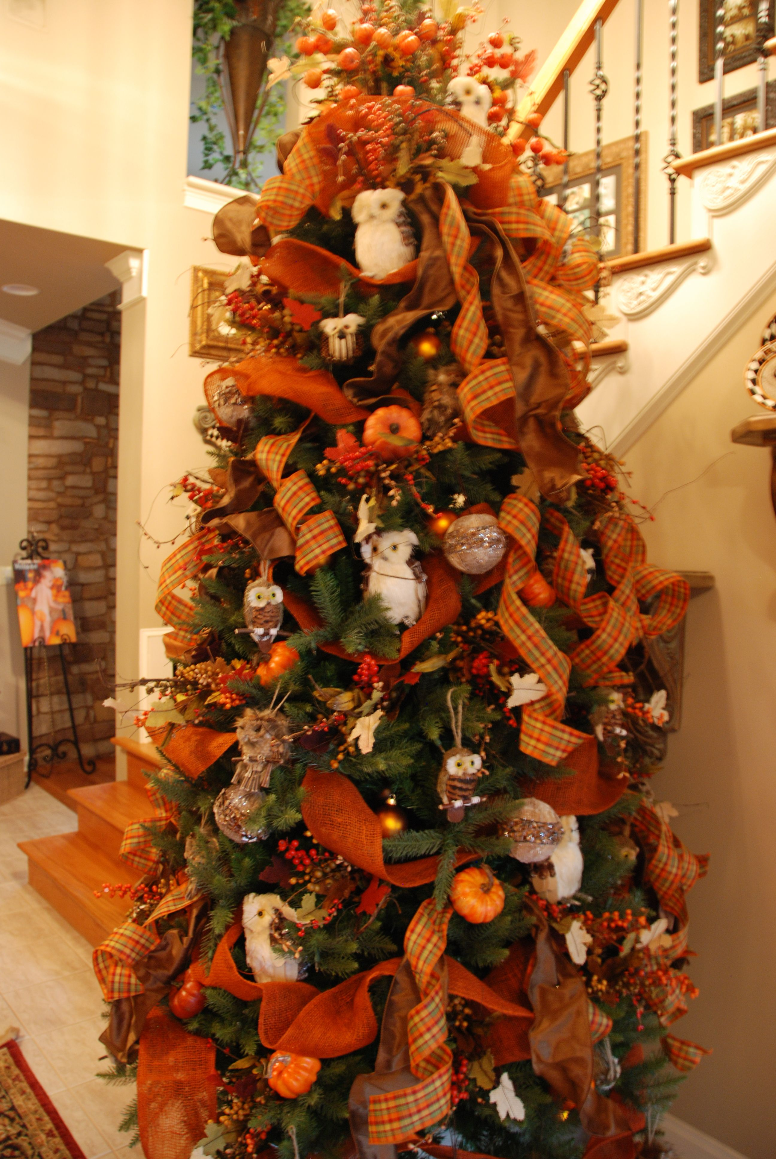 Fall decorated christmas tree Fall tree decorations