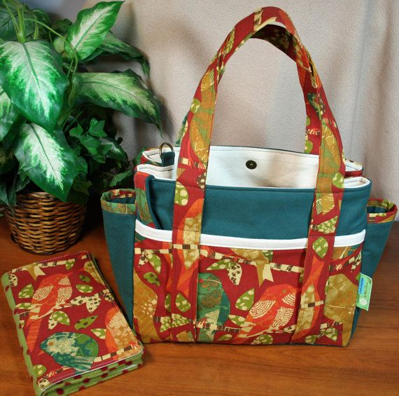 Jillybean Diaper Bag with Matching Changing Pad - BIRDS - Designer, Padded, Key Fob, Stroller Straps - Ready to Ship ... by Sew Much Cuteness