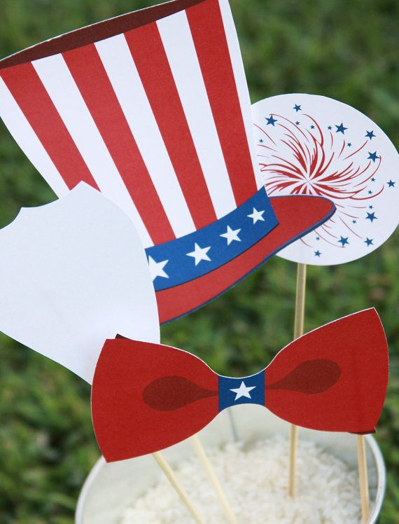 Patriotic 4th of July Printable PHOTO BOOTH PROPS Customizable - Professional Photography Props