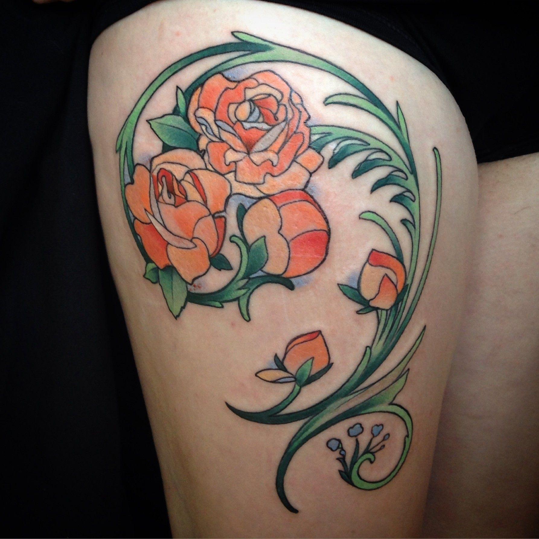 Art Nouveau Roses Thigh Tattoo Art Nouveau Tattoo Art Nouveau