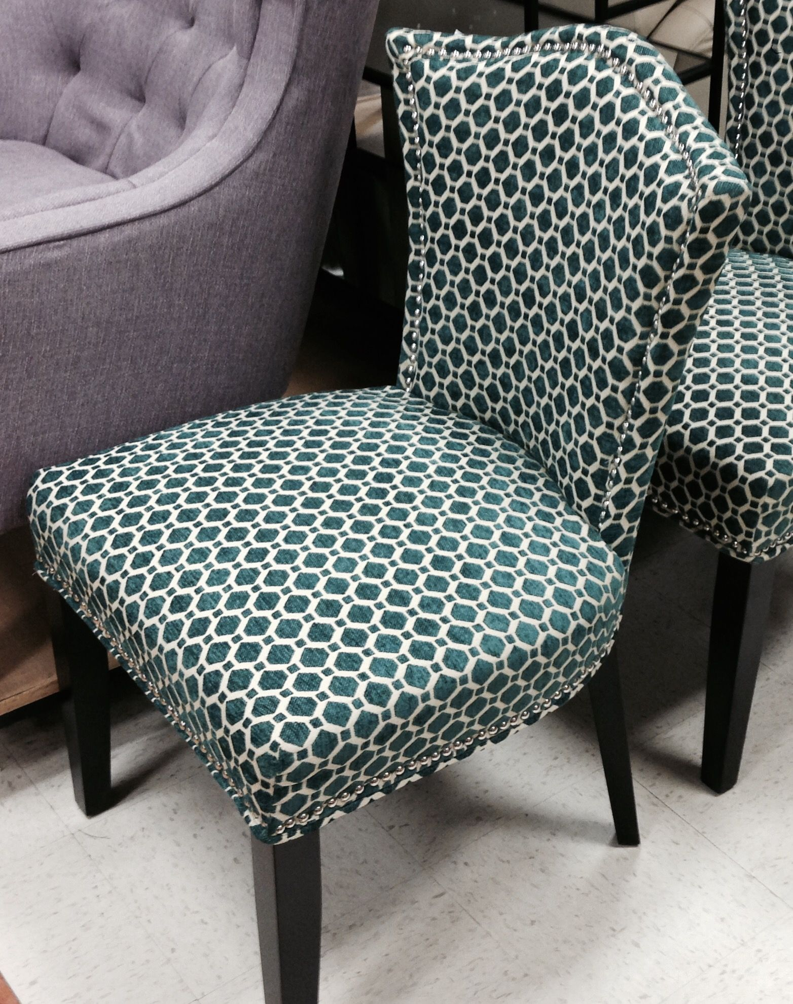 broyhill velvet dining chair with nail head detail historic old