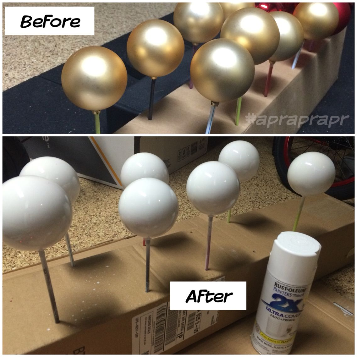Diy White Ball Ornaments Using White Spray Paint For Black White And Gold First Birthday Diy Christmas Ball Diy Birthday Decorations White Christmas Ornaments