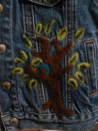 Tree on front of 2T jean jacket that I needle felted