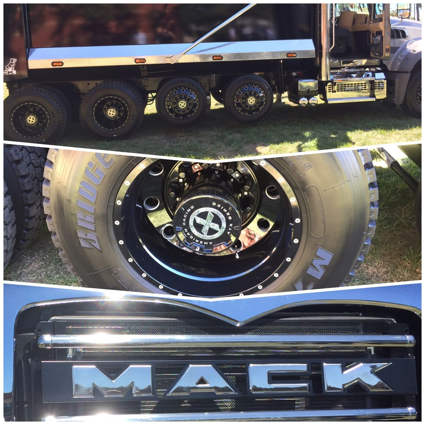 Mack truck granite dump truck 2018 black out wheels by american racing black granite