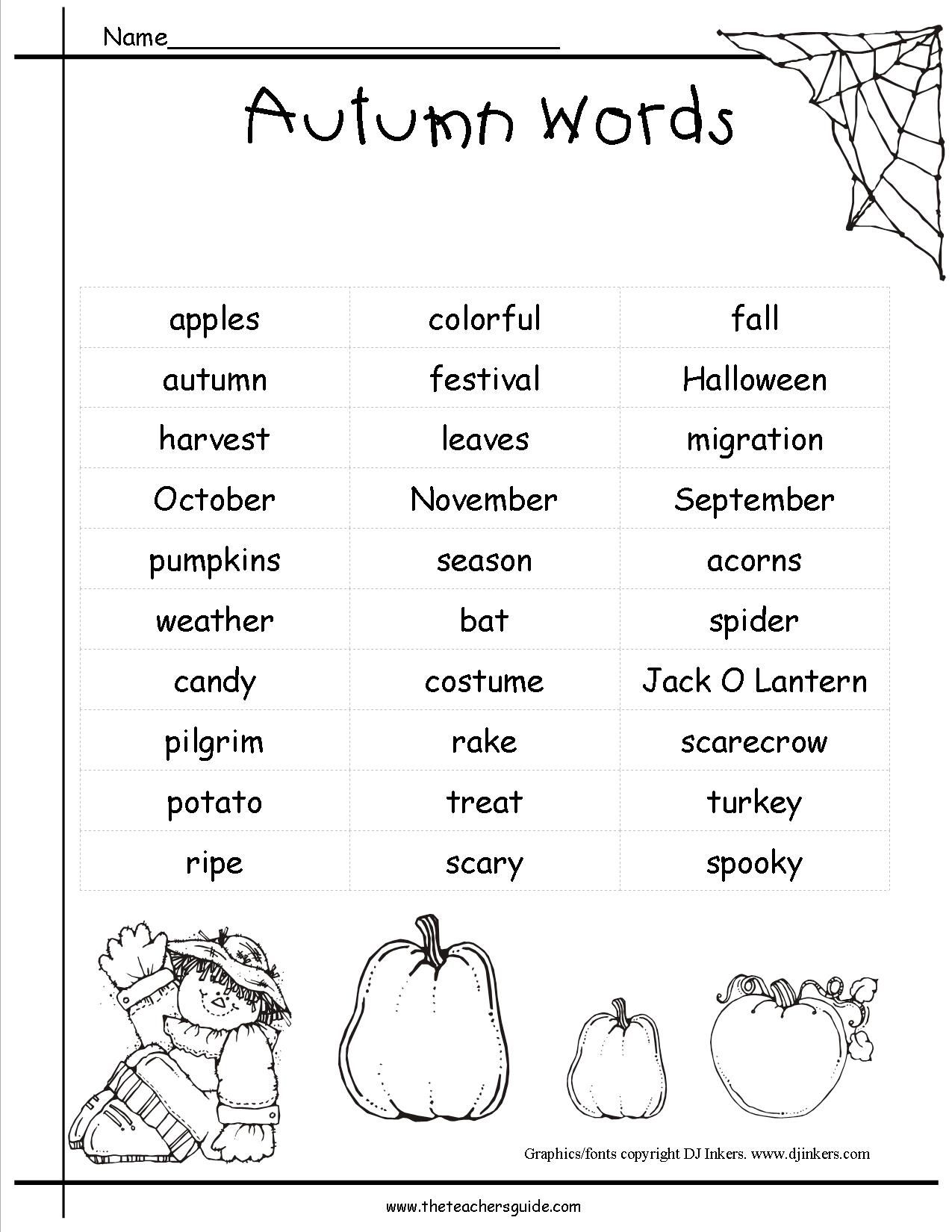 Fall Pictionary Words List For Kids