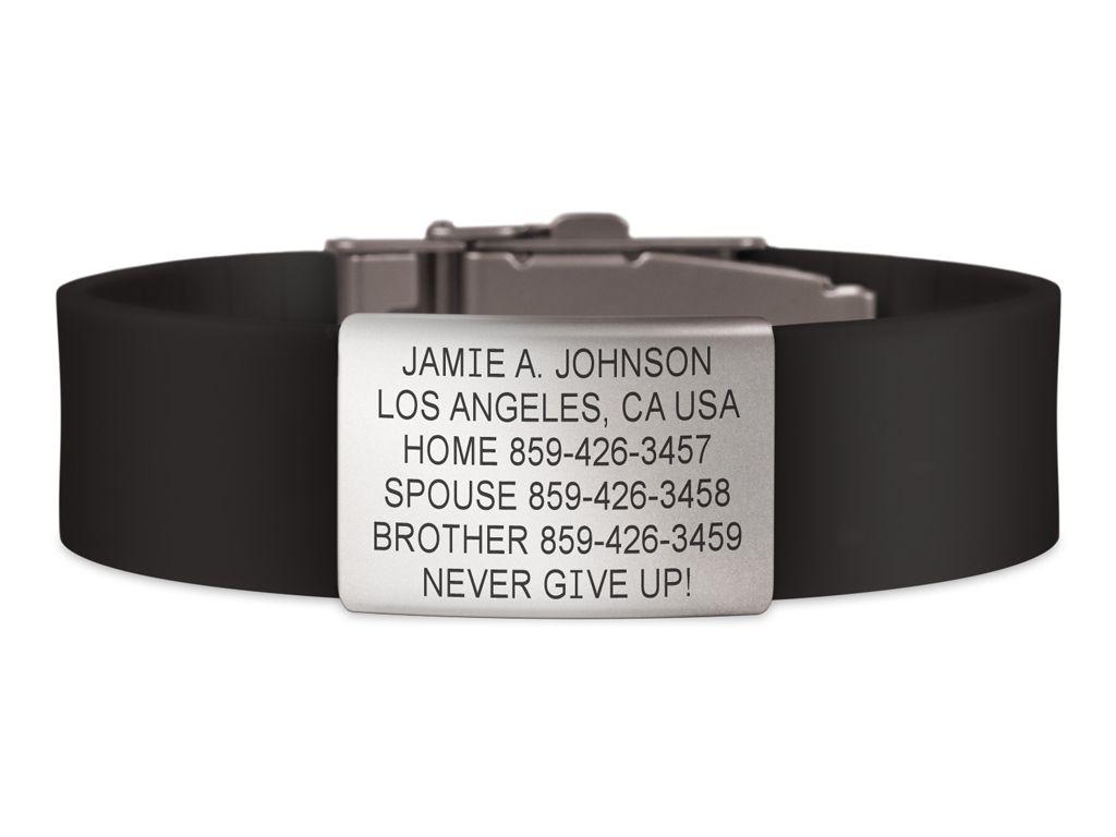 Wrist Id Elite Silicone Clasp 19mm Slate Medic Alert Bracelets Wrist Elite