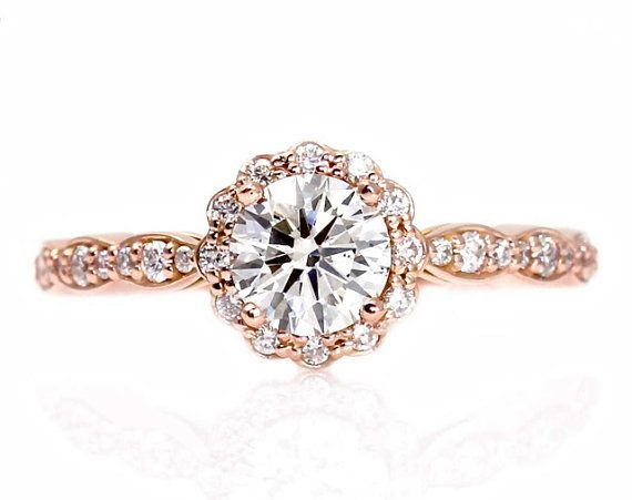 Rose Gold Moissanite Engagement Ring - I feel much better about Moissanite  than diamond. It\'s