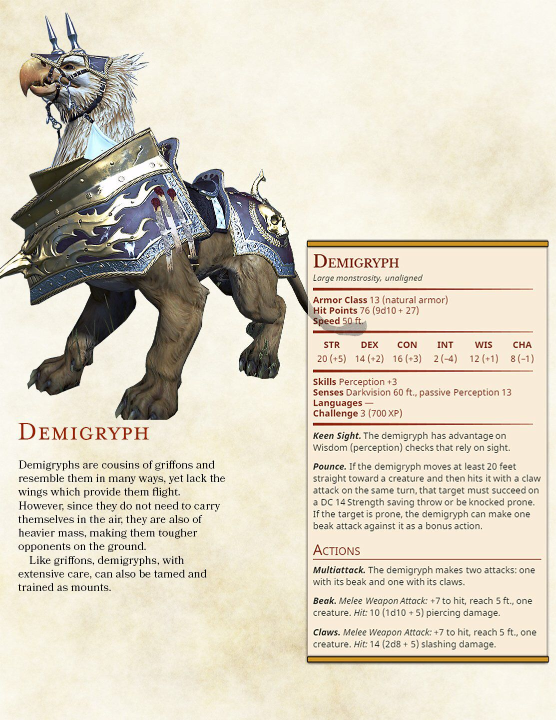 Demigryph D&d dungeons and dragons, Fantasy creatures