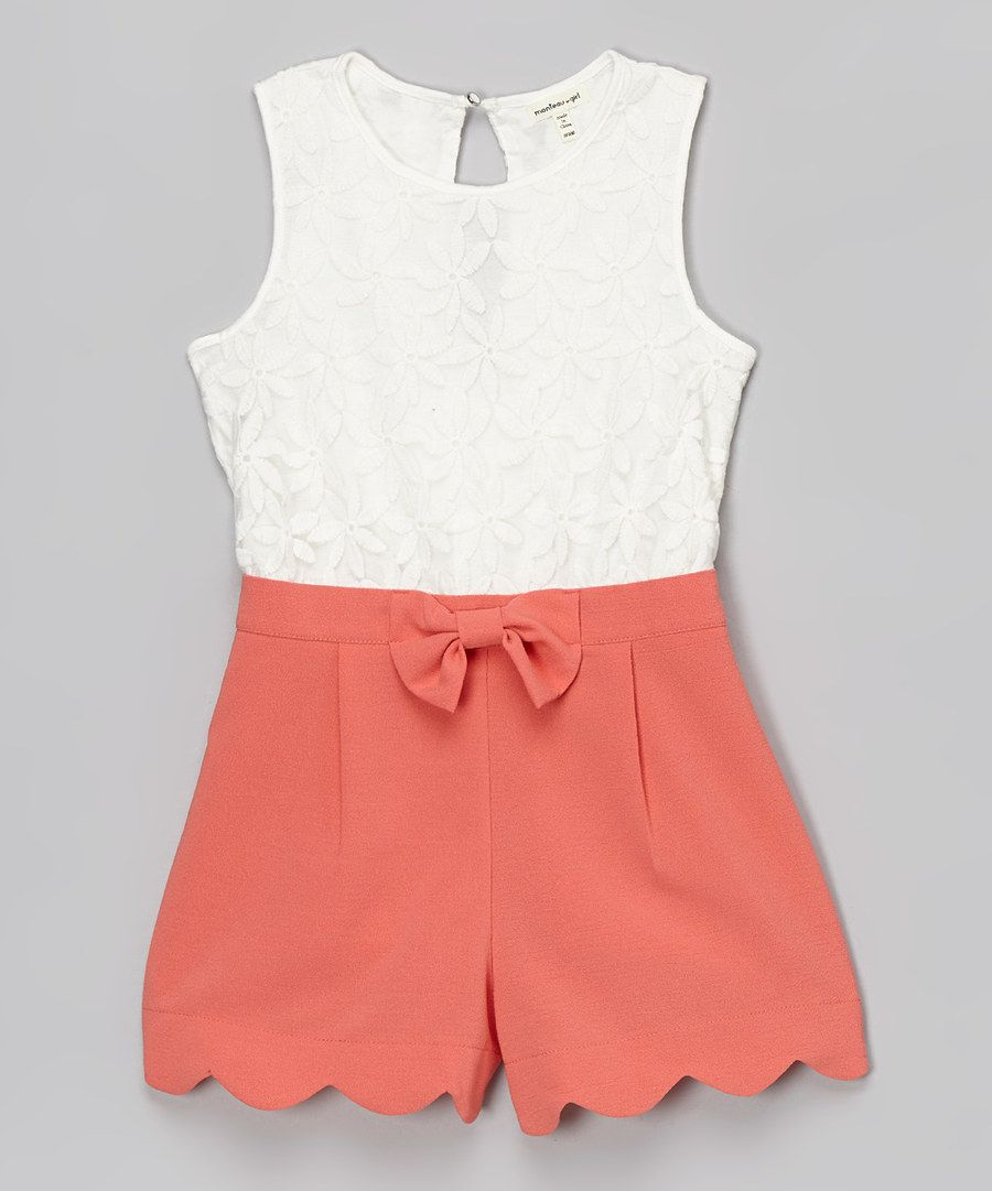 b407a8f14759 Look at this Monteau Girl White   Coral Floral Lace Romper on  zulily today!