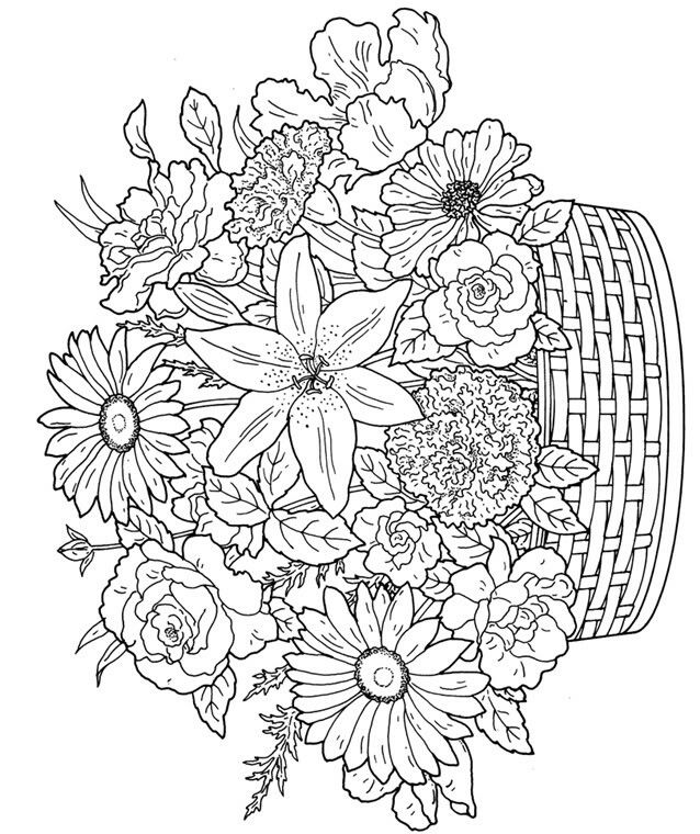 Flower Basket Detailed Coloring Pages Flower Coloring Pages Coloring Pages