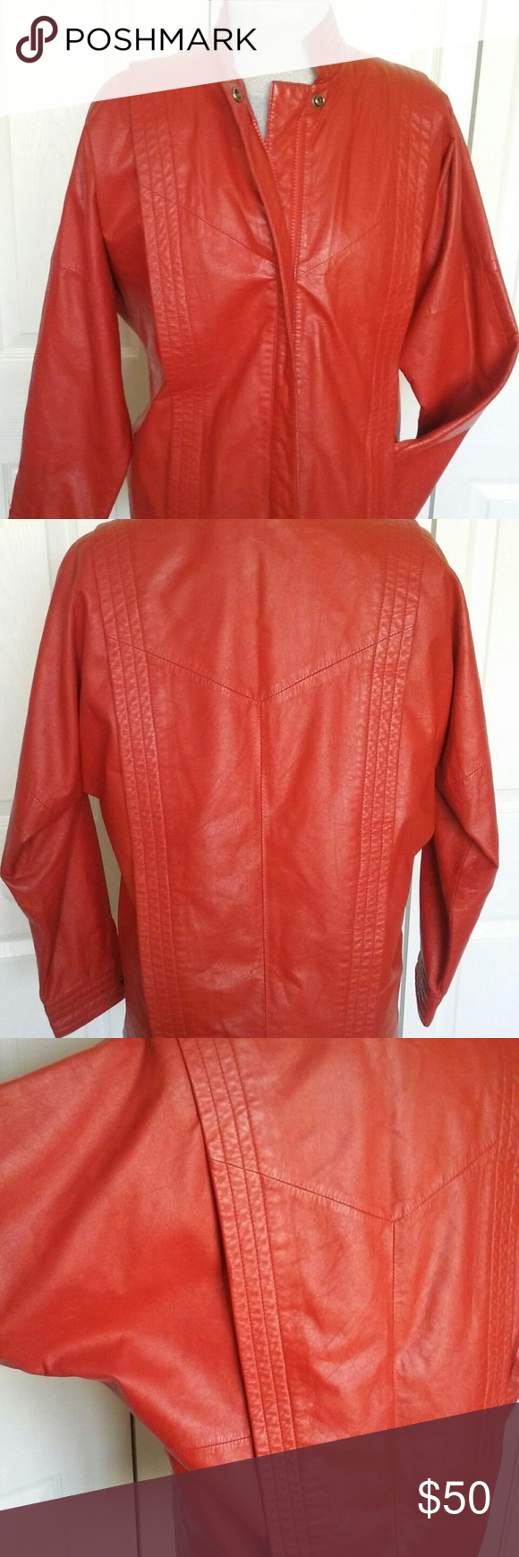 Genuine Leather Jacket Crimson Vintage 70 80s Punk