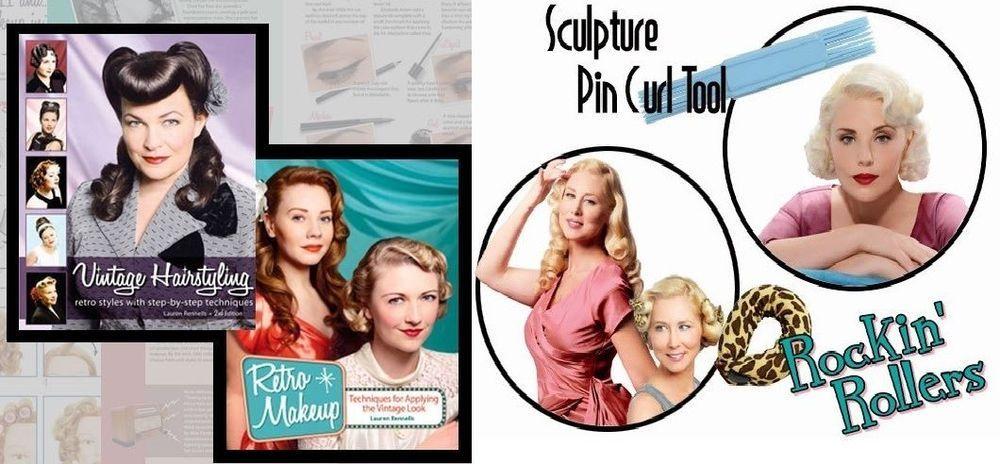 4 PC Lauren Rennells Ultimate Gift Set Vintage Hairstyling & Retro MakeUp Books #LaurenRennells