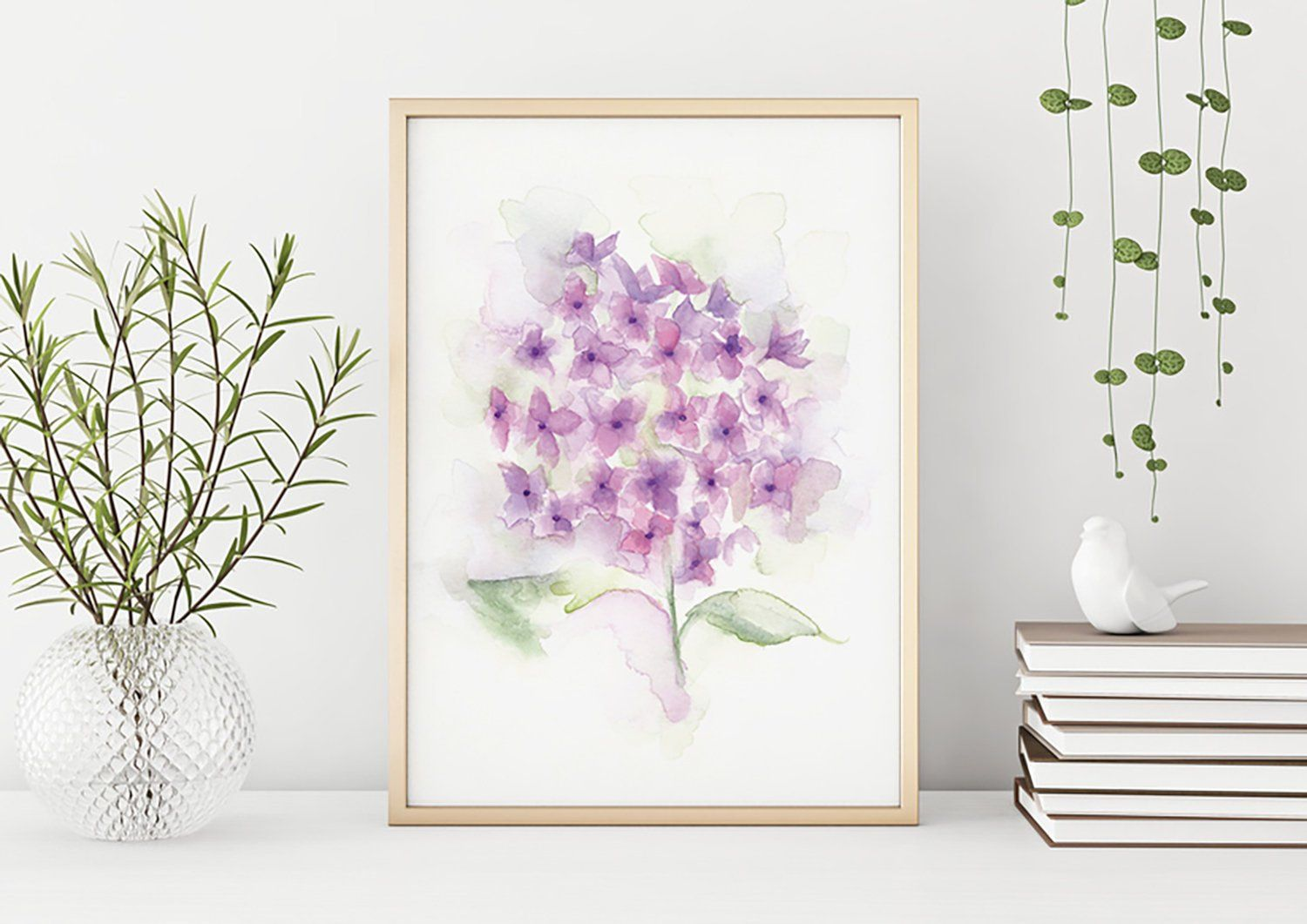 Art Print Purple And Pink Hydrangea Floral Watercolor